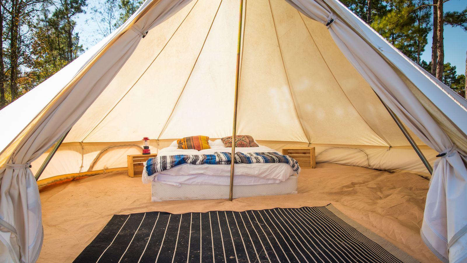 a close up of a tent