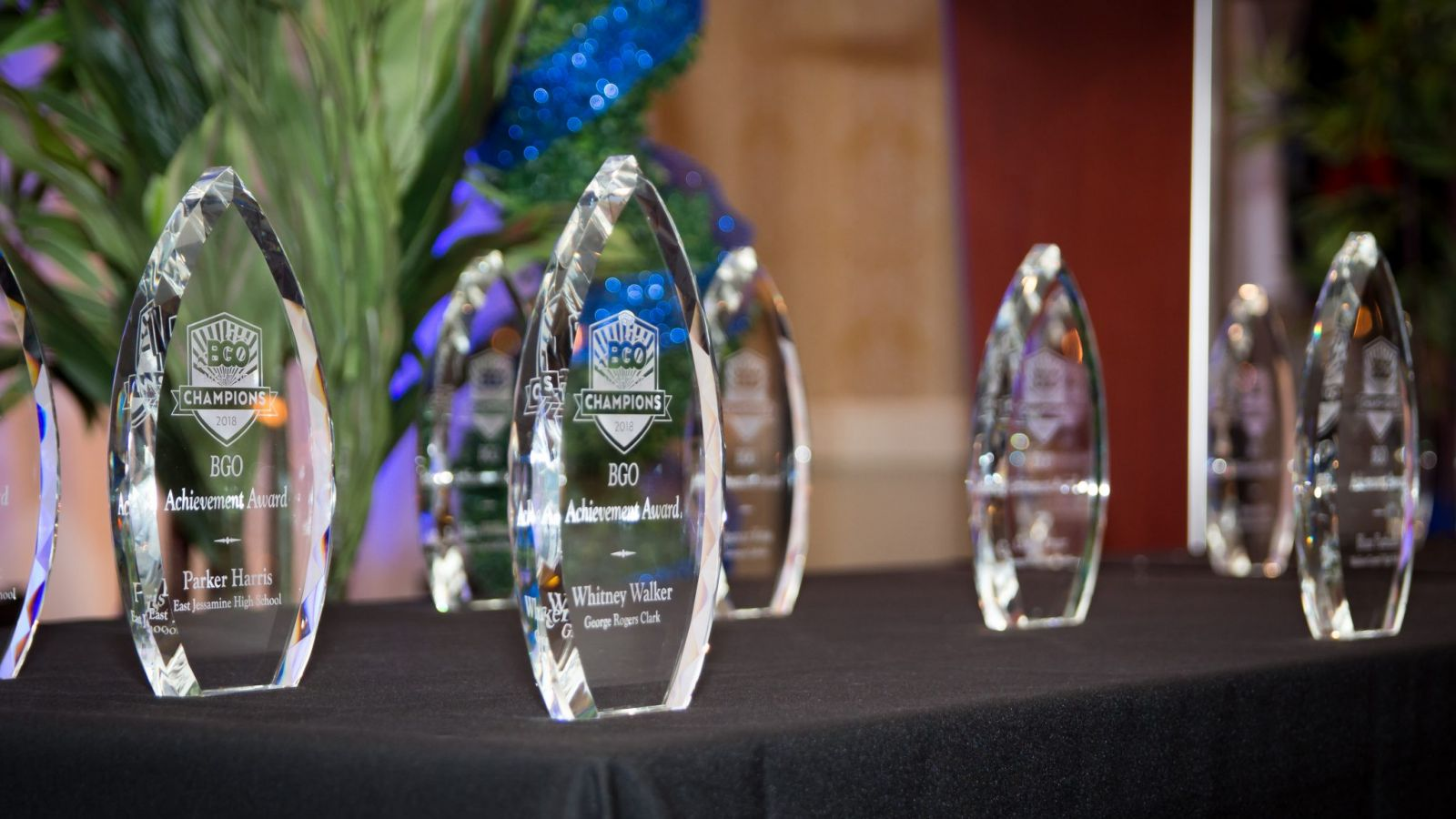 a group of glass awards on a table