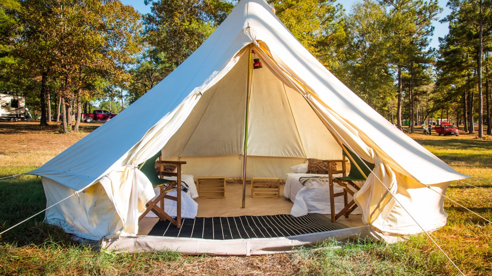 a tent in a grassy area