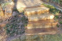 Pager Link for 4 Brown stone step treads set in landscape