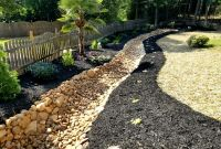 Pager Link for River rock creekbed swale with plantings