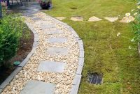Pager Link for Egg rock walkway with stepping stones and border