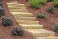 Pager Link for Brown stone step treads in landscape