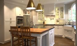 Thumbnail control image for a modern farmhouse kitchen with a walnut wood top