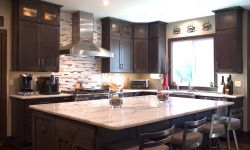 Thumbnail control image for a kitchen with an island and stainless steel hood
