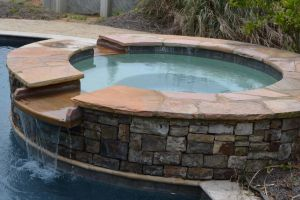 Custom Hardscape Design Spillover Spa