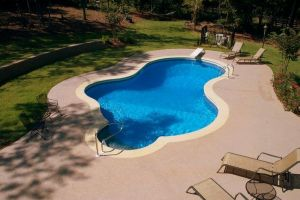 Freeform Vinyl Liner Pool with Color Deck