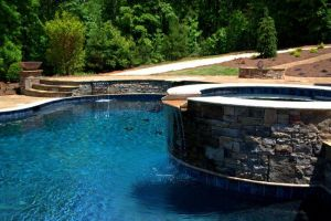 Elevated Spillover Stone Spa