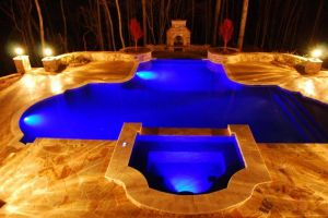 Night View of Gunite Pool