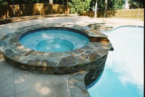 Flagstone Spa with White Plaster Finish