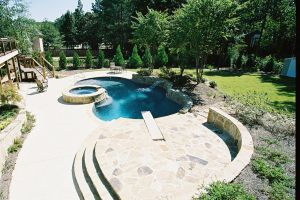 Gunite Pool with Spillover Spa & Diving Board