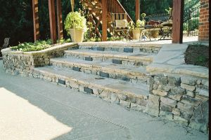 Custom Decking- Natural Stone Steps