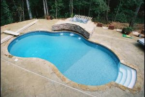 Freeform Vinyl Liner Pool w/ Spa