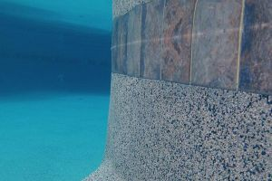 Underwater View of Tile and Pebble Surface