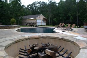 Curl up by the fire with the pool in view
