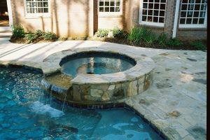 Custom Flagstone Spa and Deck
