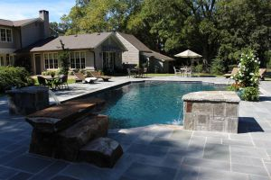 Gunite Pool With Custom Diving Rock