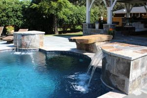 Double Water Features For Gunite Pool