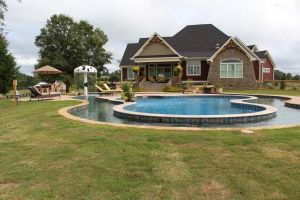 Gunite Pool With Lazy River & Mushroom Pad