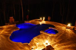 Night View of a Gunite Pool