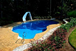 Freeform Vinyl Liner Pool w/Slide