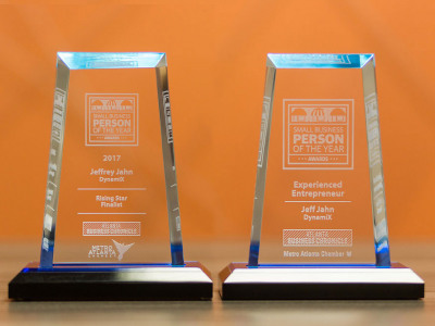 Trophies commemorating awards for excellent work
