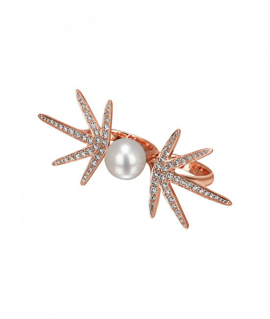Star Pearl Diamond Two Finger Ring