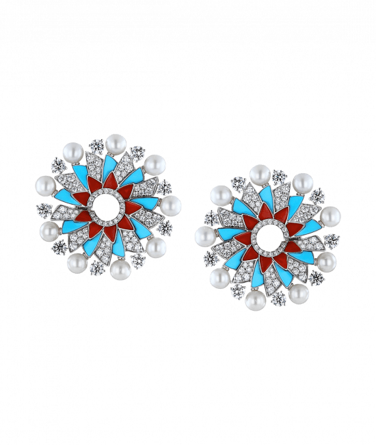 Infinia Pearl, Turquoise and Corals Earrings