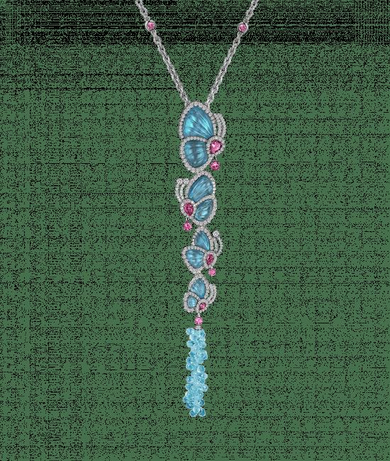 Papillon Necklace with 4 Blue Topaz Butterflies