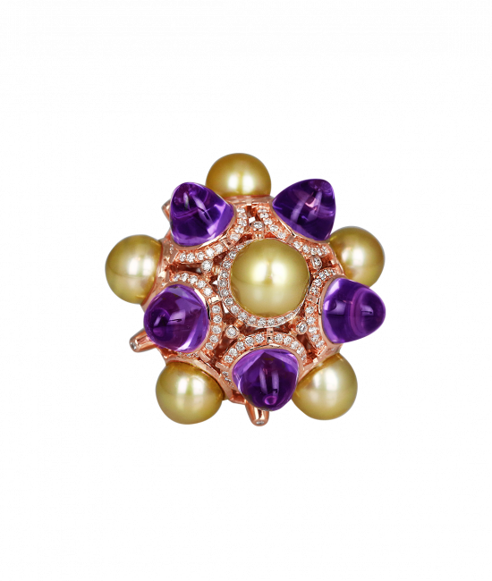 Rose Gold Golden Pearl and Amethysts Ring