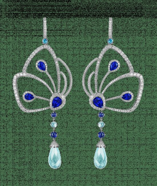 Blue Sapphire Papillon Earrings
