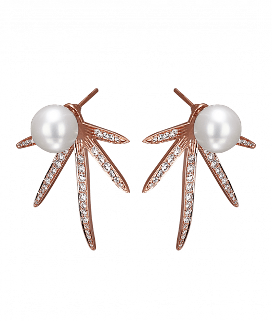 Star Pearl Diamond Earrings