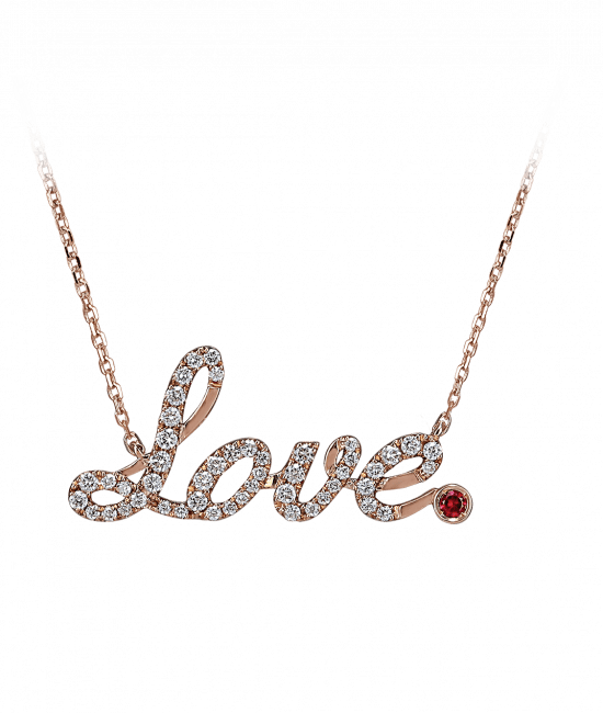 Rose Gold Pave Love Necklace Ruby