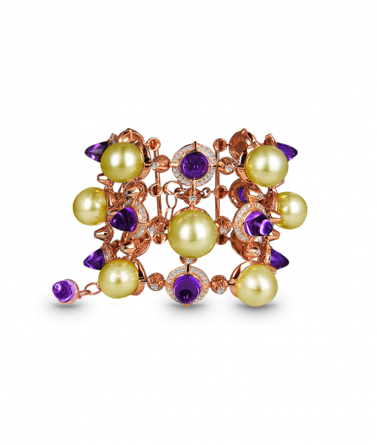 La Pearlina Golden Pearl and Amethyst Bracelet