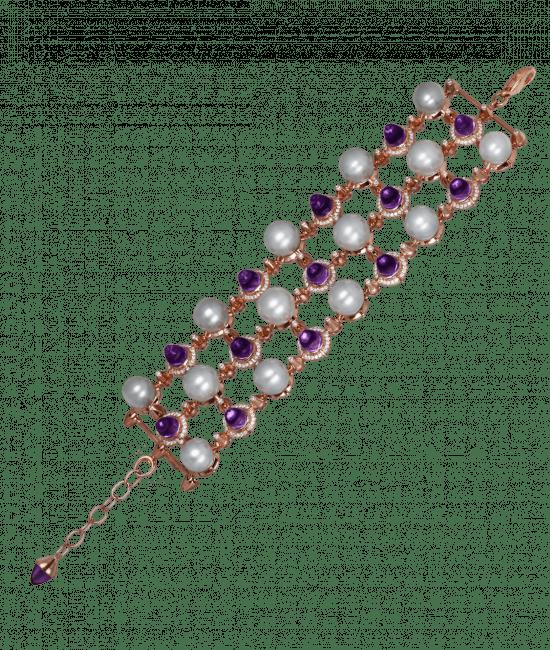 La Pearlina Pearl and Amethyst Bracelet