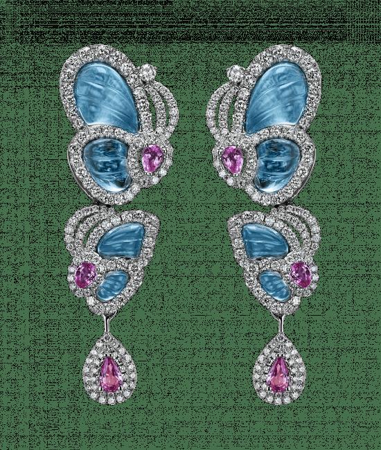 Small Drop Blue Topaz Papillon Earrings