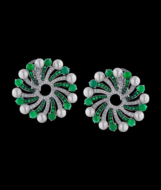 Infinia Pearl Cabochon Emeralds Earrings