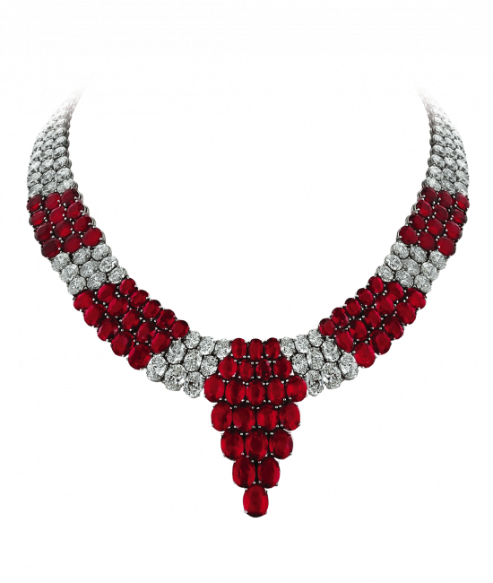 Pigeon Blood Ruby and Diamond Necklace