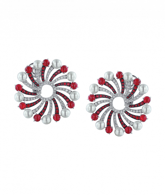 Infinia Pearl Cabochon Rubies Earrings
