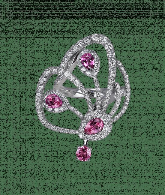 Pink Tourmaline Papillon Ring