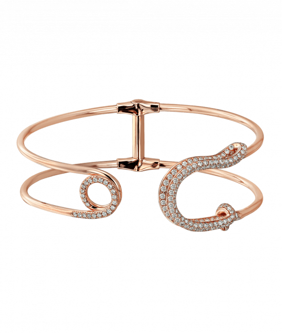 Rose Gold White Diamond Safety Pin Cuff