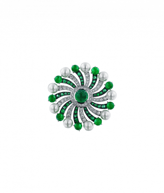 Infinia Pearl Cabochon Emeralds Ring