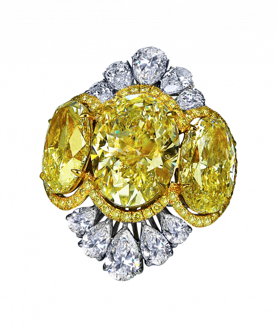 Fancy Yellow Oval Shape Diamond Cocktail Ring
