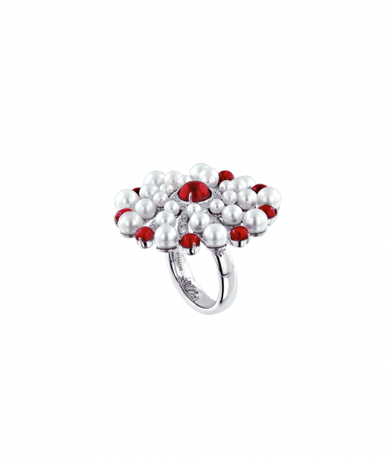 Infinia Pearl Cabochon Rubies Ring