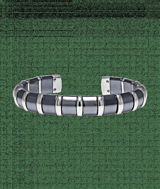 Hematite Cuff Bangle 17 Stainless Steel Bars