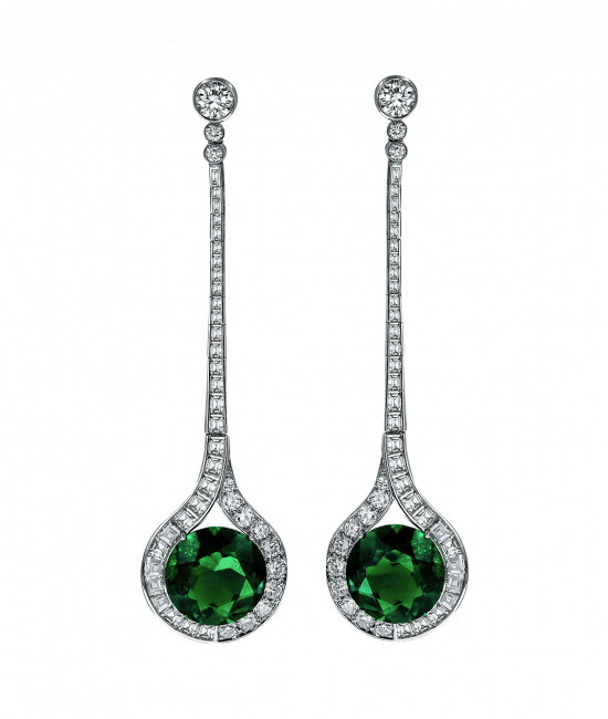 Emerald Diamond Drop Earrings