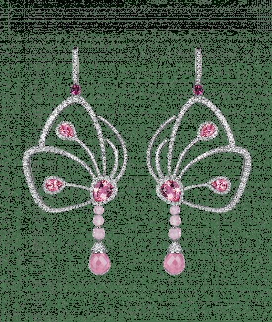Pink Tourmaline Papillon Earrings