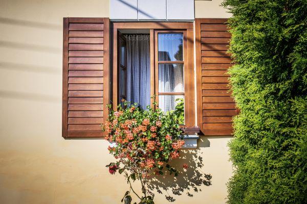 splintered wooden shutter