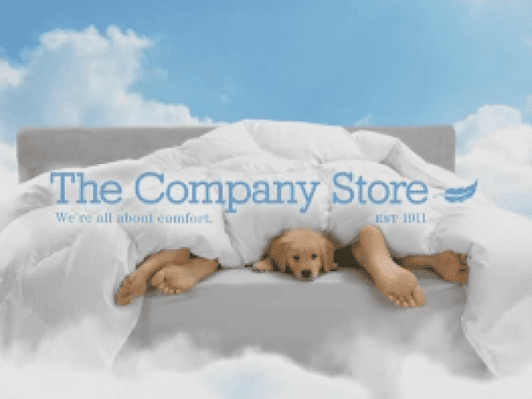 the company store tv commercial advertisement showing puppies under a comforter in a bed