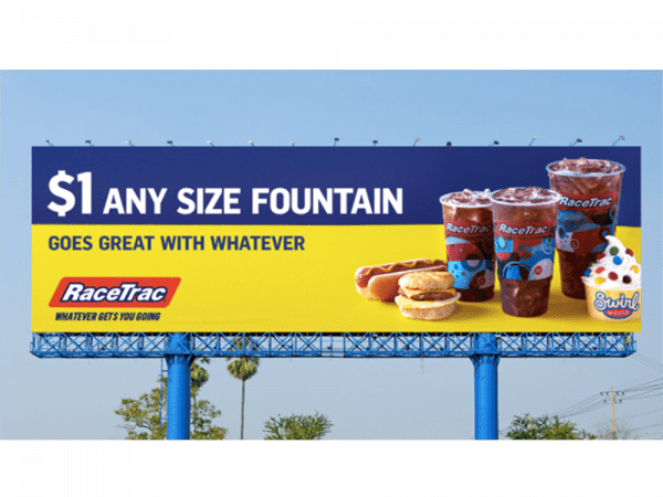 racetrac out of home billboard advertisement showing products